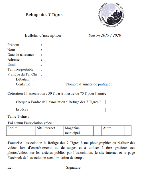 Bulletin d'inscription 2019-2020 Antony Tai Chi Chen